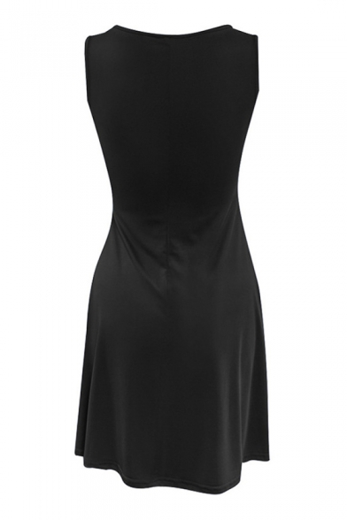 Leisure V Neck Sleeveless Plain Mini A-Line Dress