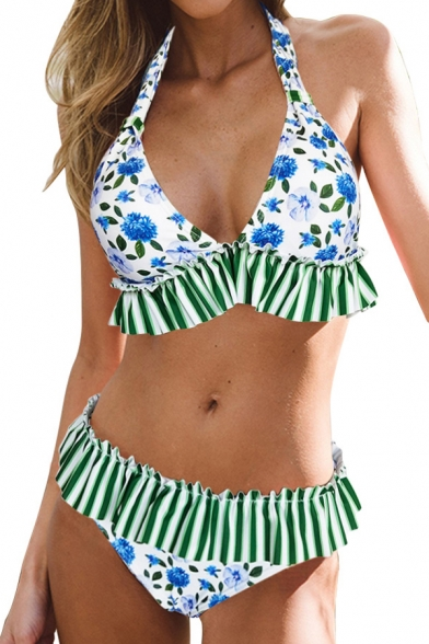 New Arrival Floral Striped Printed Halter Sleeveless Bikini