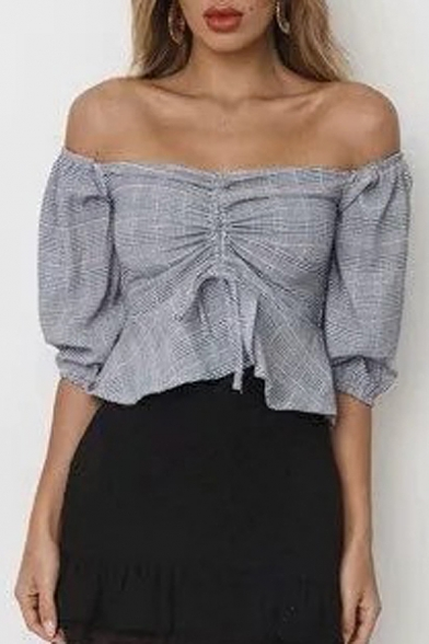 Plaid Printed Drawstring Front Off The Shoulder 3/4 Length Sleeve Crop Blouse