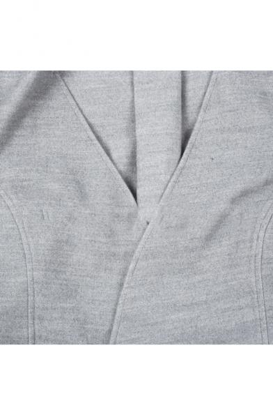 Plain V Neck Tie Waist Loose Trendy Cape Coat