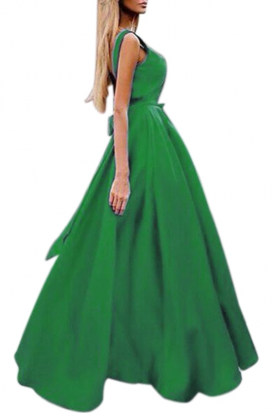 Plain Maxi Line Tie V Back Open Embellished Party Sleeveless Neck Sleeveless Dress Bow A qqP8z
