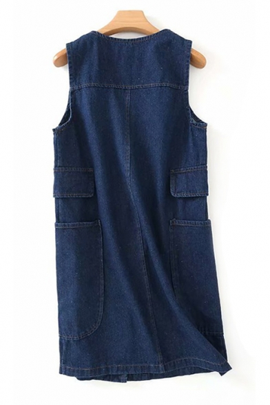 V Neck Sleeveless Plain Button Down Tunic Denim Vest