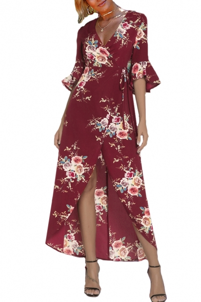Image of 3/4 Length Sleeve V Neck Floral Printed Split Front Maxi Asymmetric Dress