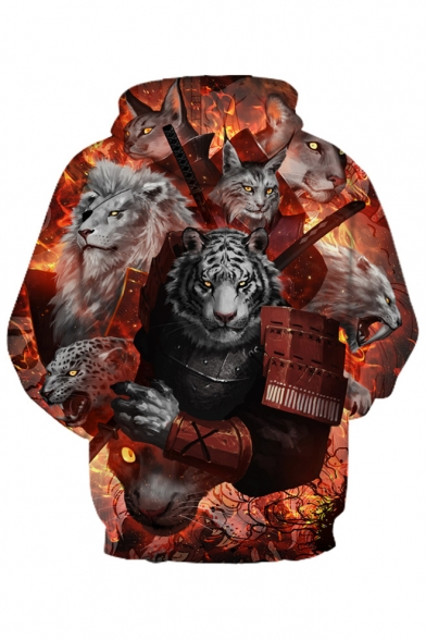 Couple Printed Sleeve 3D Hoodie Tiger Lion for Long PT44q0R