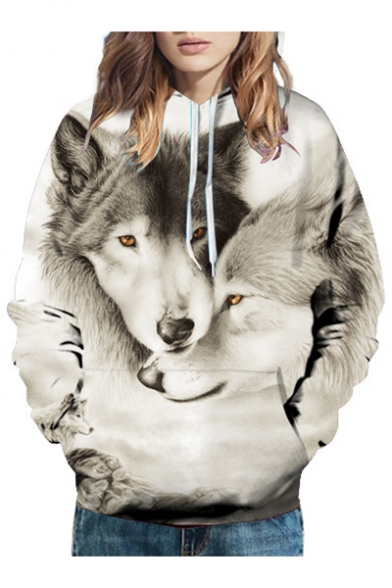 Hoodie Unisex Printed Long 3D Sleeve Wolves Loose nzfWUw1PO
