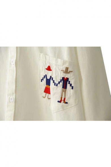 Cartoon Character Embroidered Lapel Collar Long Sleeve Button Down Tunic Shirt