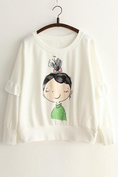 Sleeve Detail Girl Ruffle Round Neck Sweatshirt Printed Long Cartoon nP4Xxtq4