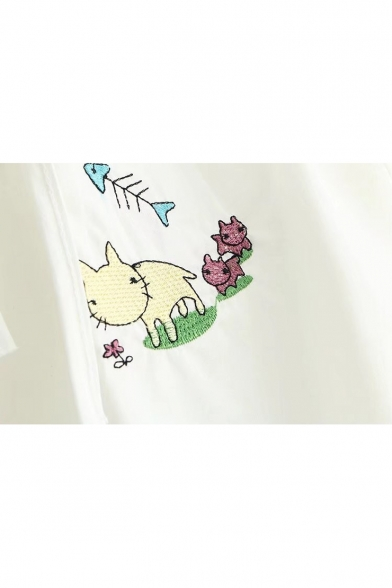 Sleeve Embroidered The Cat Length 4 3 Off Blouse Bone Shoulder Fish fxwnqawz