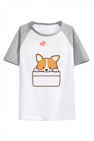 Raglan Tee Comic Color Heart Neck Leisure Dog Short Block Sleeve Round ZYvqwdYr