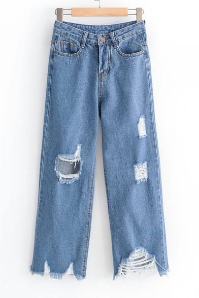 Купить со скидкой Cut Out Detail Distressed Zip Up Loose Straight Jeans