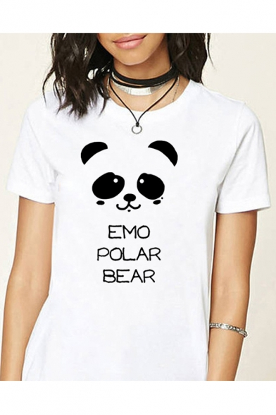Letter Bear Sleeve Round Short Neck EMO Printed Tee gqxdw5tCt