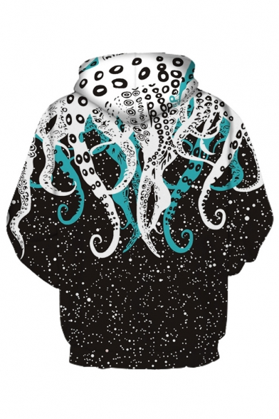 Spot Octopus Casual Sleeve Hoodie Printed Long TPZAxP
