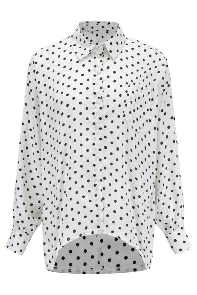 Polka Dot Printed Lapel Collar Long Sleeve Button Down Shirt