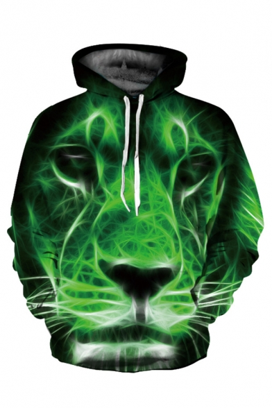 Sleeve Loose Long Hoodie Printed Popular Digital Lion I8xzzA