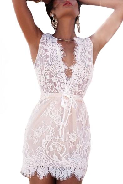 Sexy Plunge Neck Sleeveless Drawstring Waist Mini A-Line Lace Dress