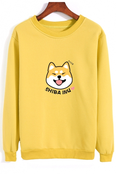 SHIBA INU Letter Dog Printed Round Neck Long Sleeve Sweatshirt, LC478829, Burgundy;green;pink;red;white;yellow;light gray;sky blue;khaki