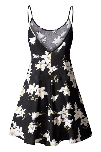 Line Dress Spaghetti Sleeveless Floral Printed A Straps Mini xC4w1qY