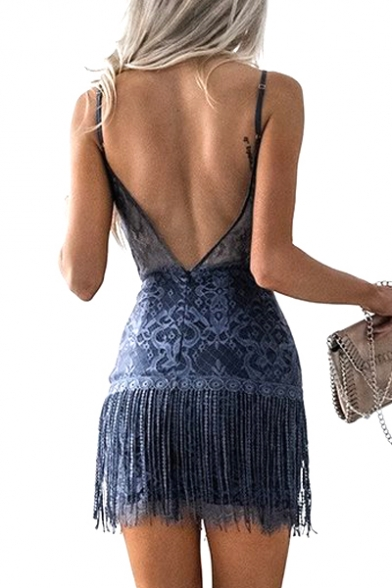 Spaghetti Straps Sleeveless Tassel Embellished Hollow Out Back Mini Pencil Dress