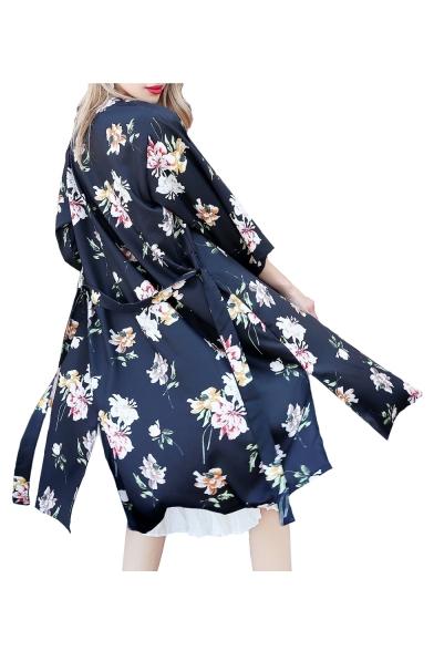 Tie Waist 3/4 Length Sleeve Floral Printed Tunic Collarless Kimono