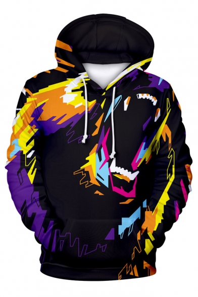 Image of 3D Abstract Bear Printed Long Sleeve Leisure Hoodie