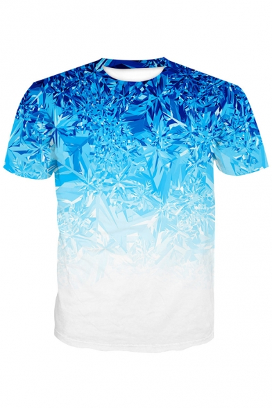 3D Ice Printed Round Neck Short Sleeve Tee LC476458 фото