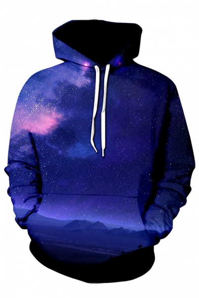 Printed Sleeve Leisure 3D Hoodie Long Galaxy tSwcqT5