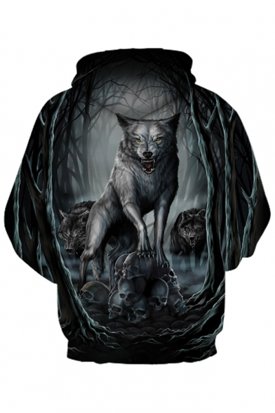Printed for Hoodie Sleeve Couple Leisure 3D Long Wolf Skull q0wApaE