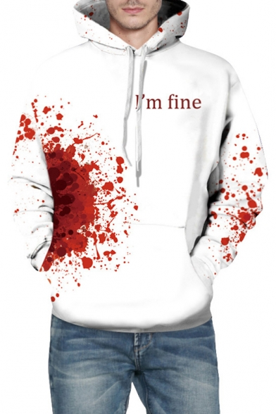 Printed FINE Blood I'M Sleeve Letter Unisex Hoodie Long PStgxS