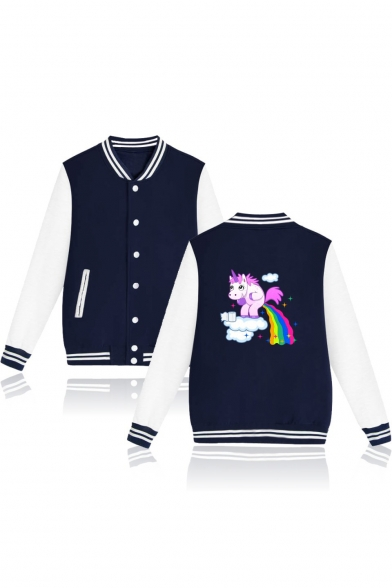 Color Block Unicorn Printed Contrast Striped Trim Stand Up Collar Button Down Baseball Jacket