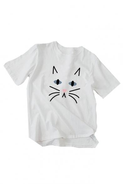 Tee Half Round Printed Sleeve Hem Dip Neck Cat f0wUX