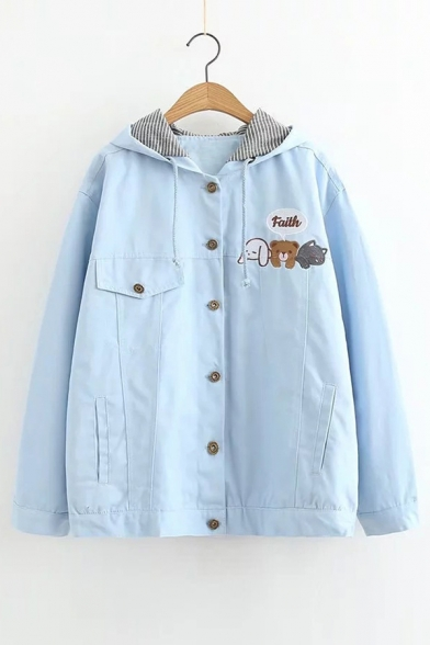 FAITH Letter Animal Embroidered Button Down Long Sleeve Hooded Coat