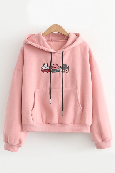 Sleeve Embroidered DAY Hoodie Long Pig HAPPY Letter FATHER'S OgqBPP