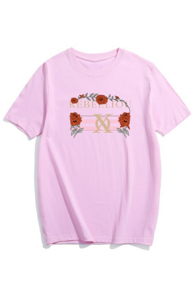 Round Tee Letter Neck Sleeve Rose Printed Short xwxn4ACa