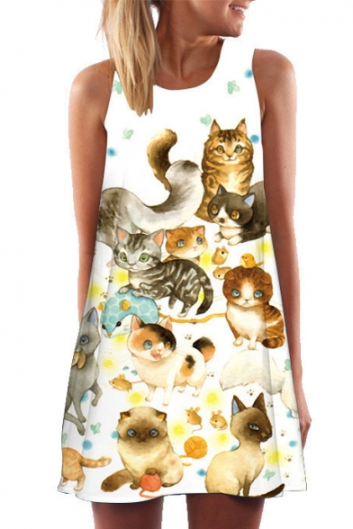 Lovely Cat Printed Round Neck Sleeveless Mini A-Line Dress
