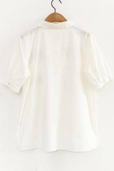 Rabbit Carrot Embroidered Lapel Collar Button Down Short Sleeve Shirt