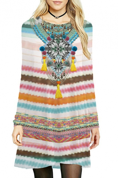 Tribal Striped Printed Round Neck Long Sleeve Slim Midi A-Line Dress