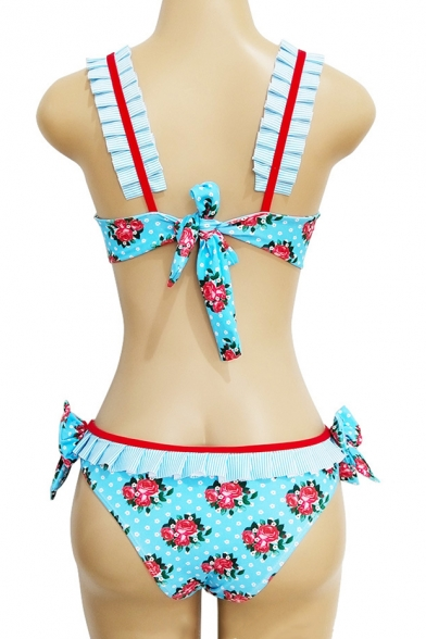 Unique Floral Striped Printed Sleeveless Holiday Bikini