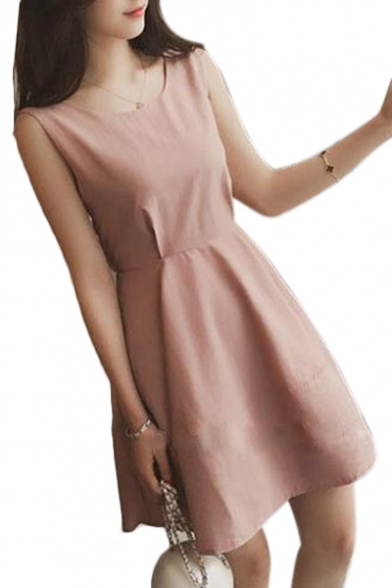 Bow Tie Back Round Neck Sleeveless Plain Mini A-Line Dress