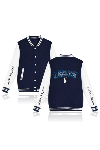 Button Down ASPECTS Letter Printed Stand Up Collar Color Block Long Sleeve Baseball Jacket