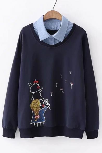 Cartoon Girl Rabbit Printed Fake Two Pieces Lapel Collar Long Sleeve Sweatshirt