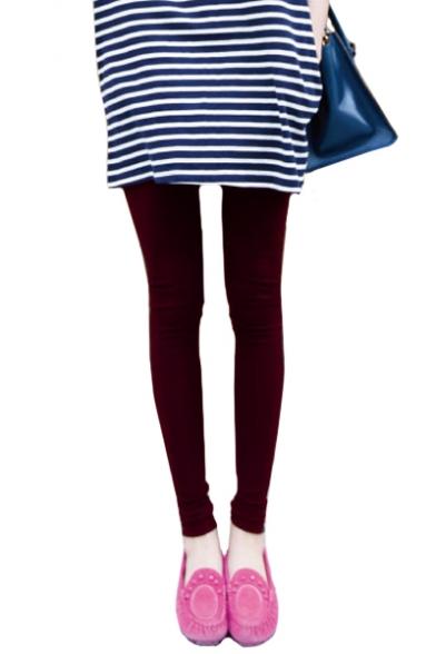 Elastic Waist Plain Skinny Slim Leggings