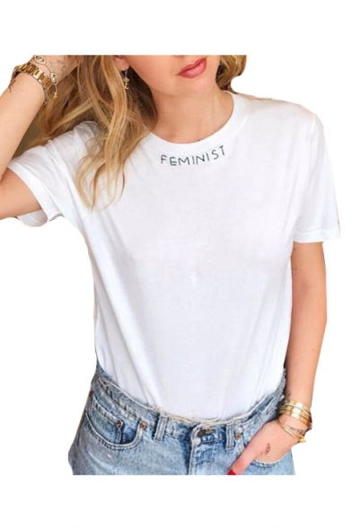 Letter Short FEMINIST Slim Sleeve Printed Round Tee Comfort Neck dpwxngqZwB