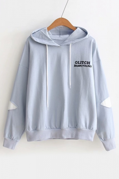 Embroidered Leisure Hoodie Long Letter Applique Sleeve dSwqnP64a