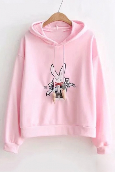 Hoodie Pattern Embroidered Letter Carrot Sleeve Rabbit Drawstring Long qpwAOf