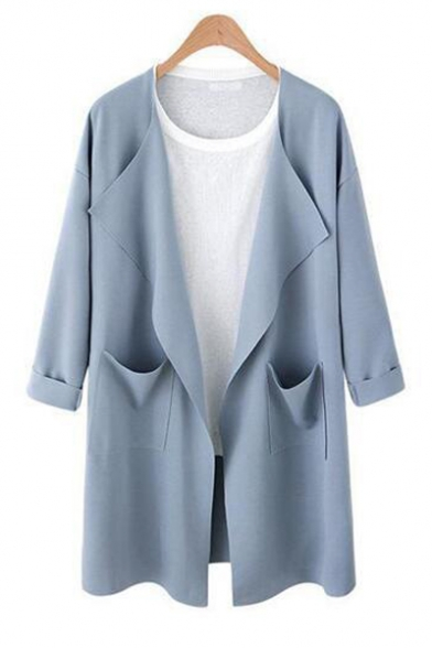 Plain Lapel Collar 3/4 Length Sleeve Tunic Open Front Coat