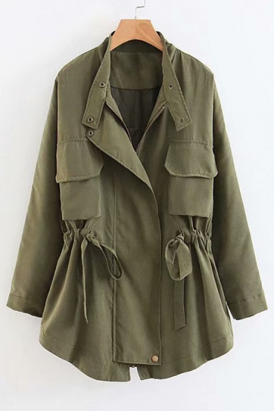 Stand Up Collar Long Sleeve Plain Drawstring Waist Tunic Trench Coat