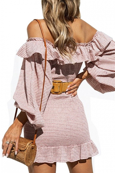 Dress Sleeve Mini Striped Long Off Ruffle The Printed Pencil Shoulder Detail Un7Zpvx