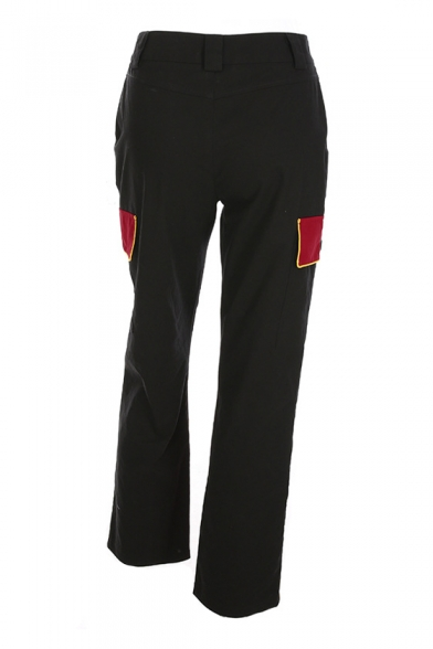 Trendy Color Block Zip Fly Straight Leisure Cargo Pants