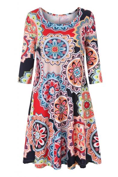 Tribal Printed Round Neck 3/4 Length Sleeve Mini A-Line Dress