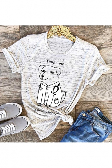 TRUST ME Letter Dog Printed Round Neck Short Sleeve T-Shirt